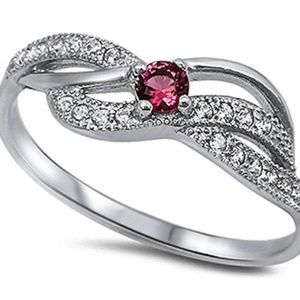 Fake Ruby & Cubic Z size 6 Ring